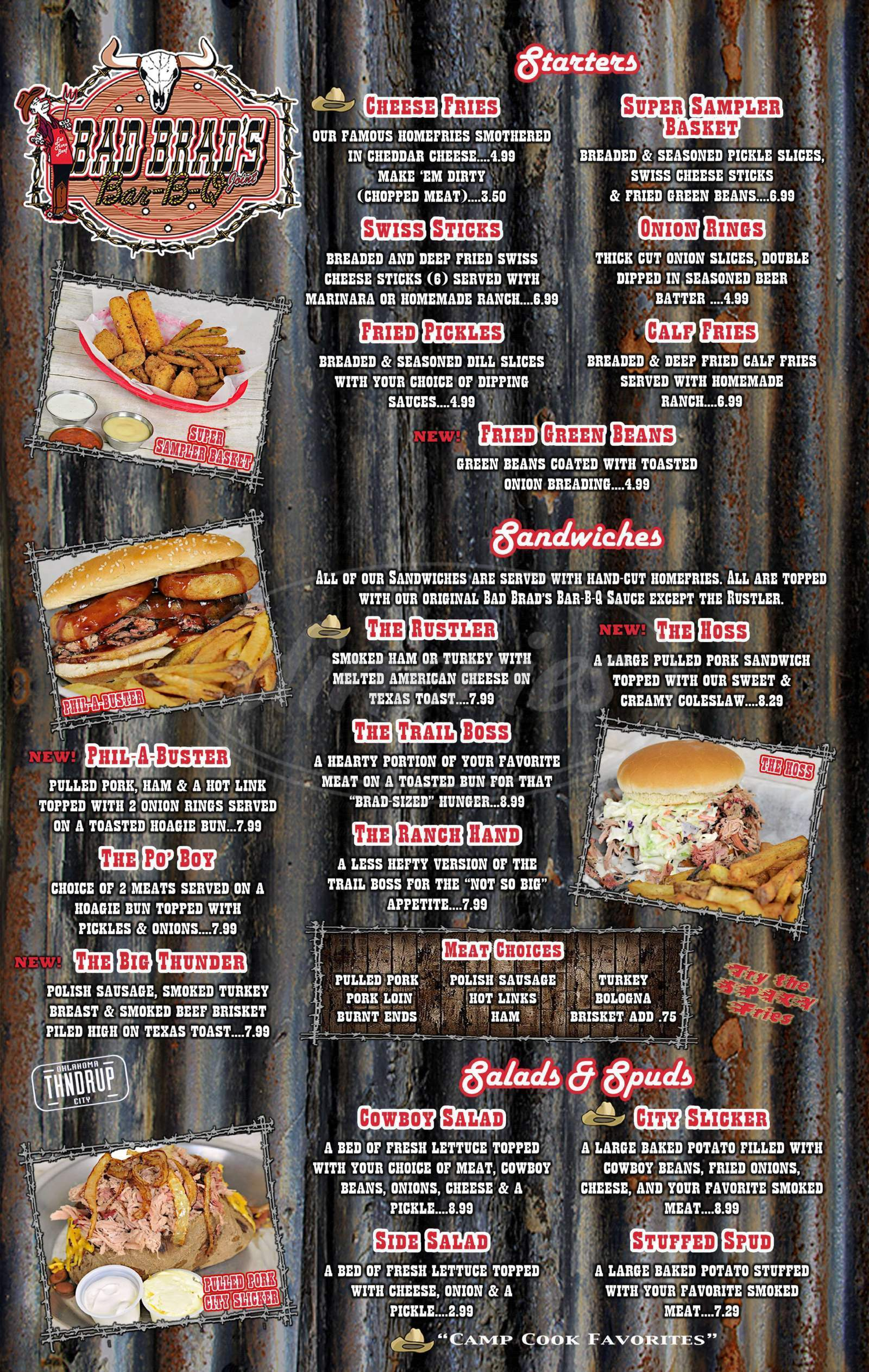 menu for Bad Brad's Bar-B-Q of Yukon