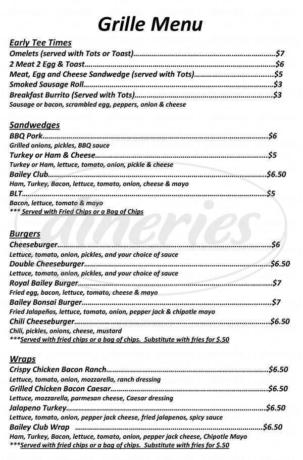 menu for Bailey Ranch Grille