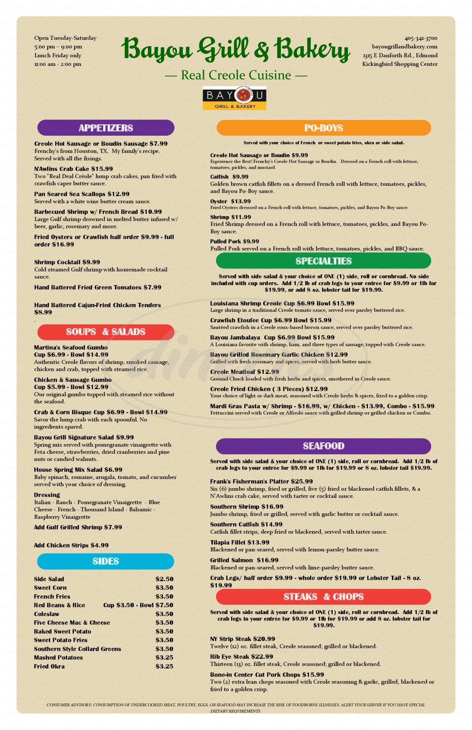 menu for Bayou Grill & Bakery