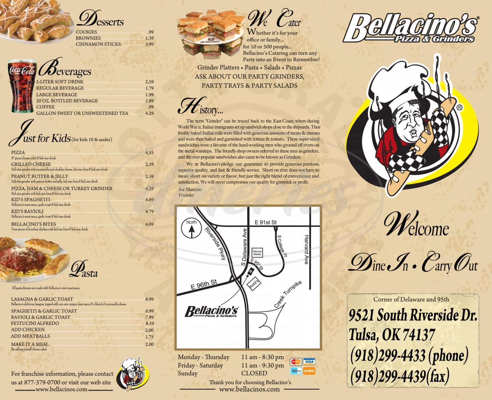 menu for Bellacinos Pizza & Grinder