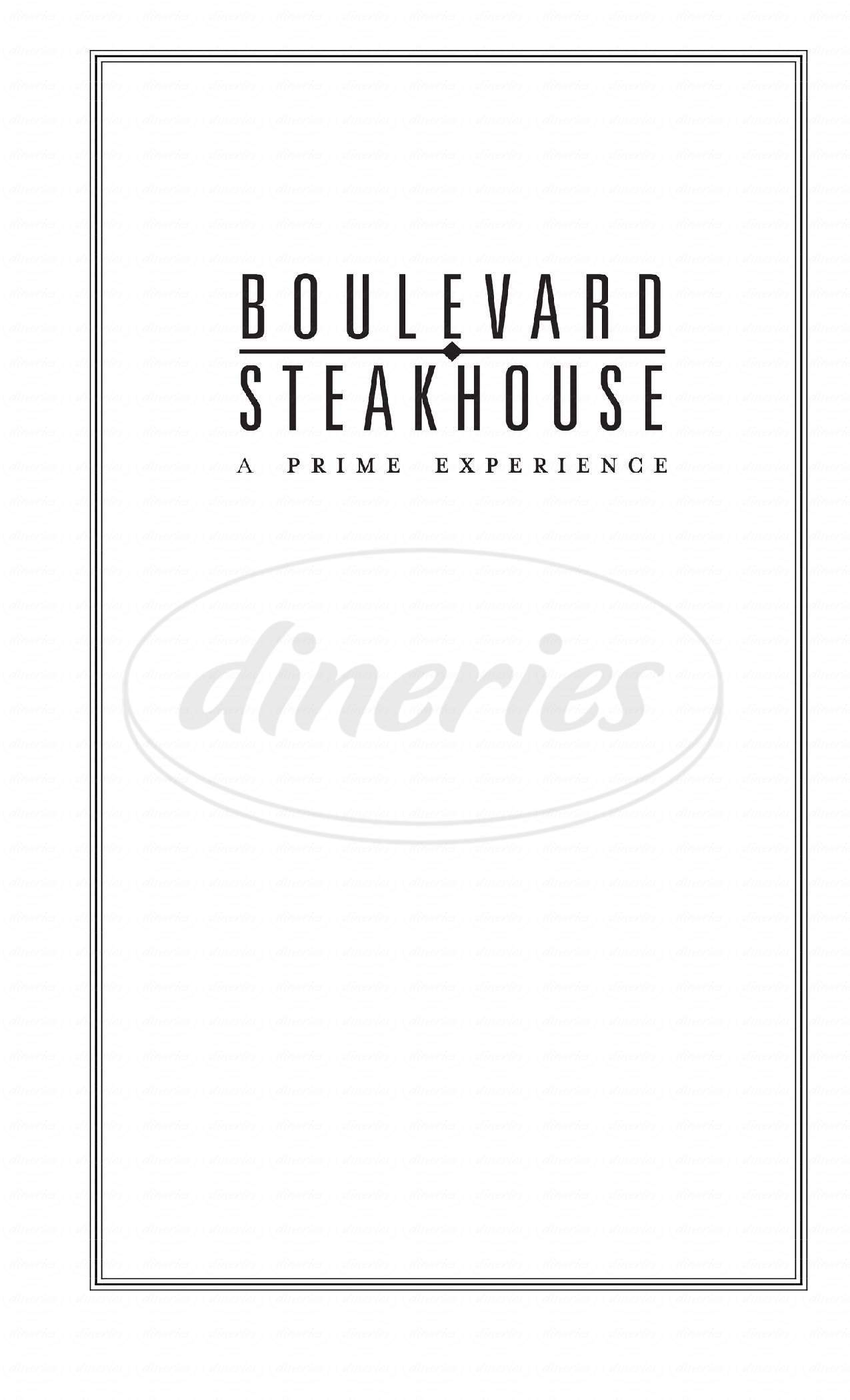 menu for Boulevard Steakhouse