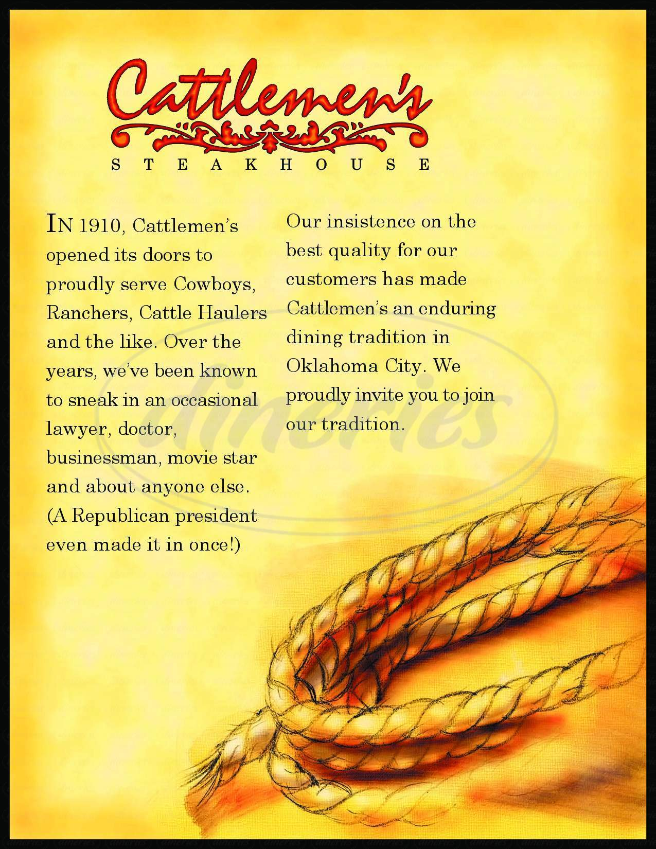 menu for Cattlemen's Steak House