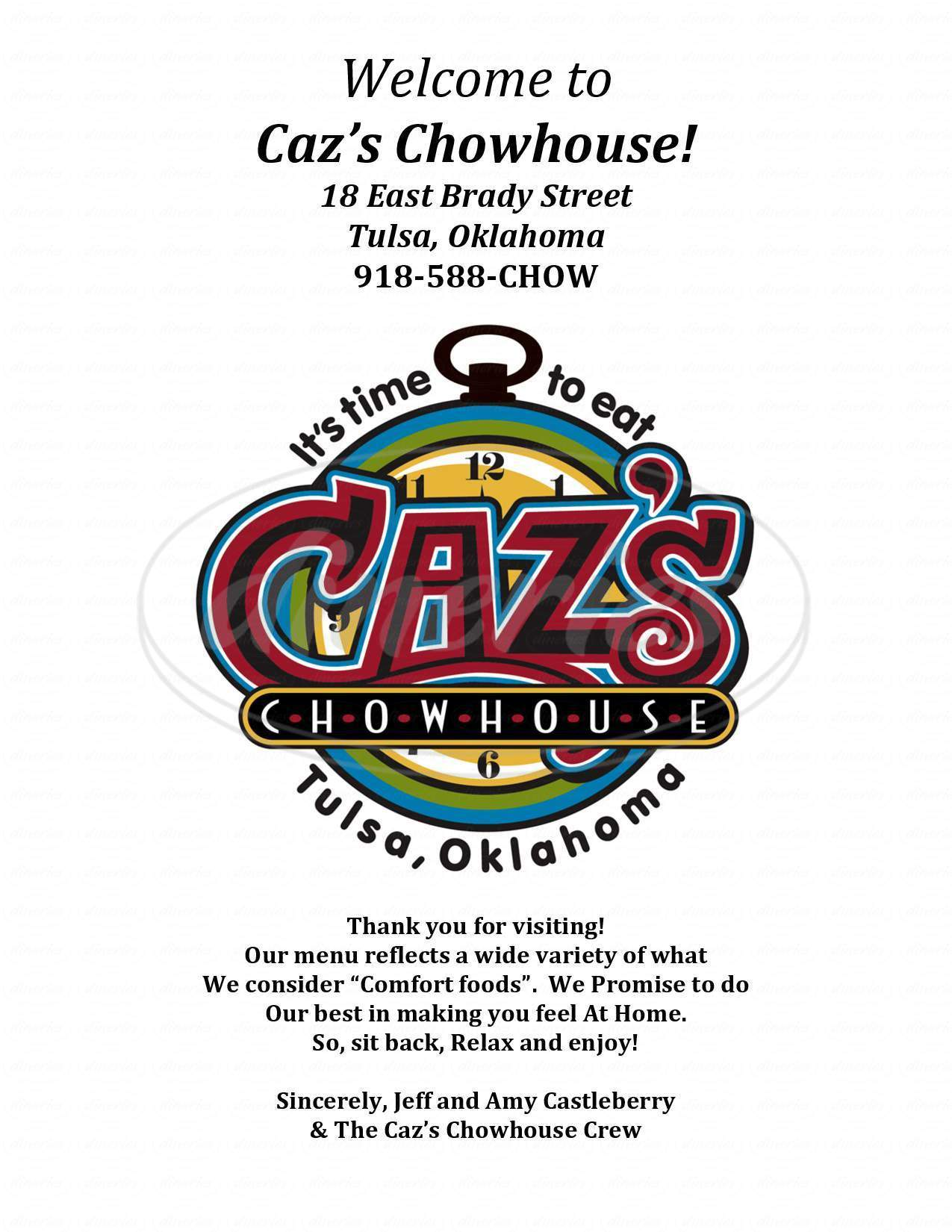 menu for Caz's Chow House