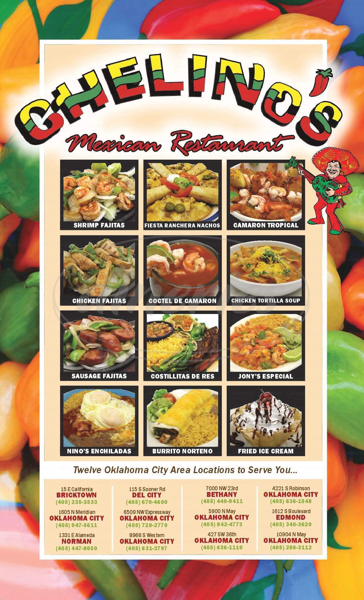 menu for Chelino's Mexican Restaurant