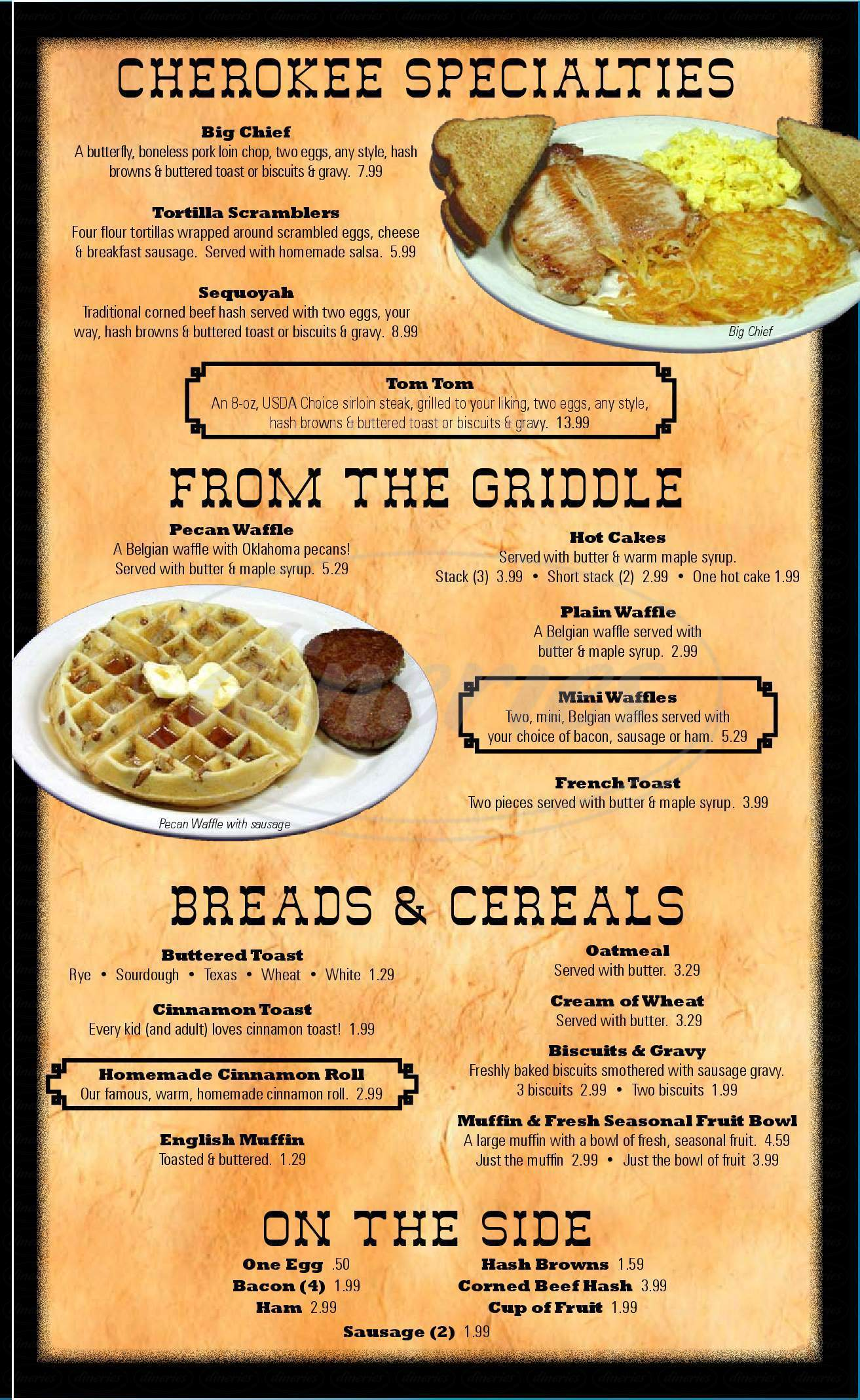 menu for Cherokee Trading Post and Restaurant