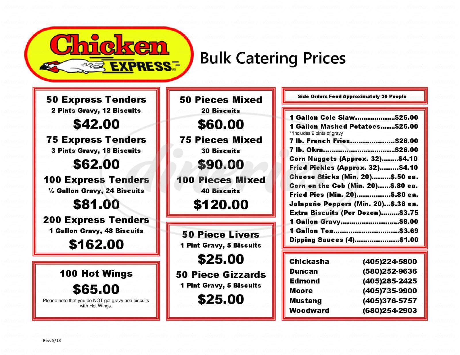 menu for Chicken Express