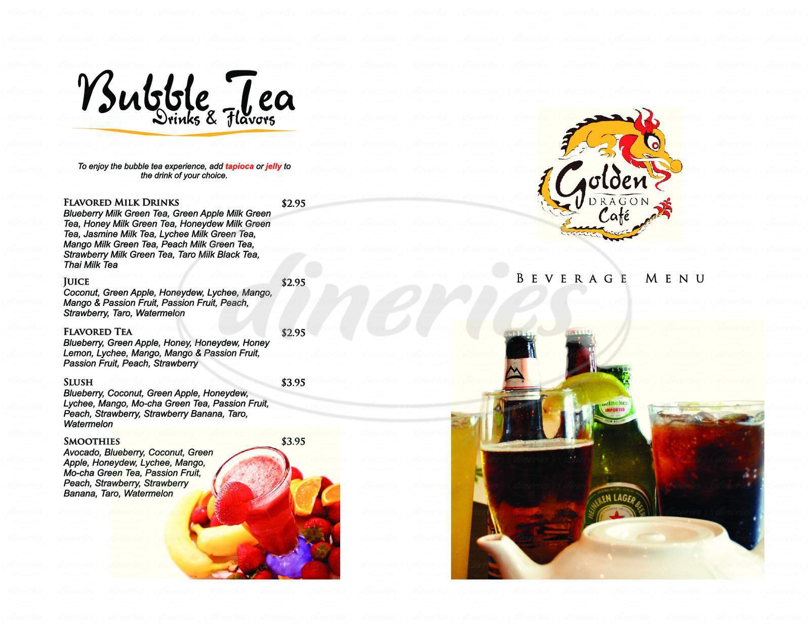 menu for Golden Dragon Cafe