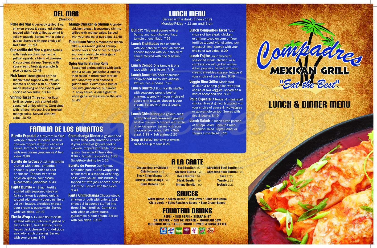menu for Compadres Mexican Grill & Cantina