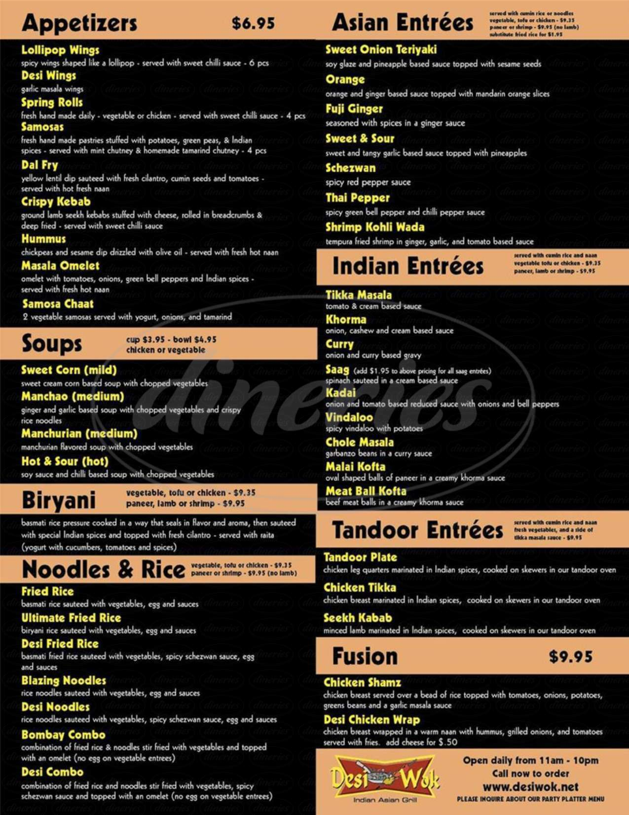 menu for DesiWok Indian Asian Grill