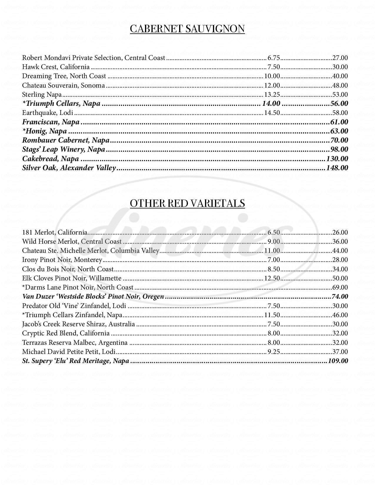 menu for McGill's