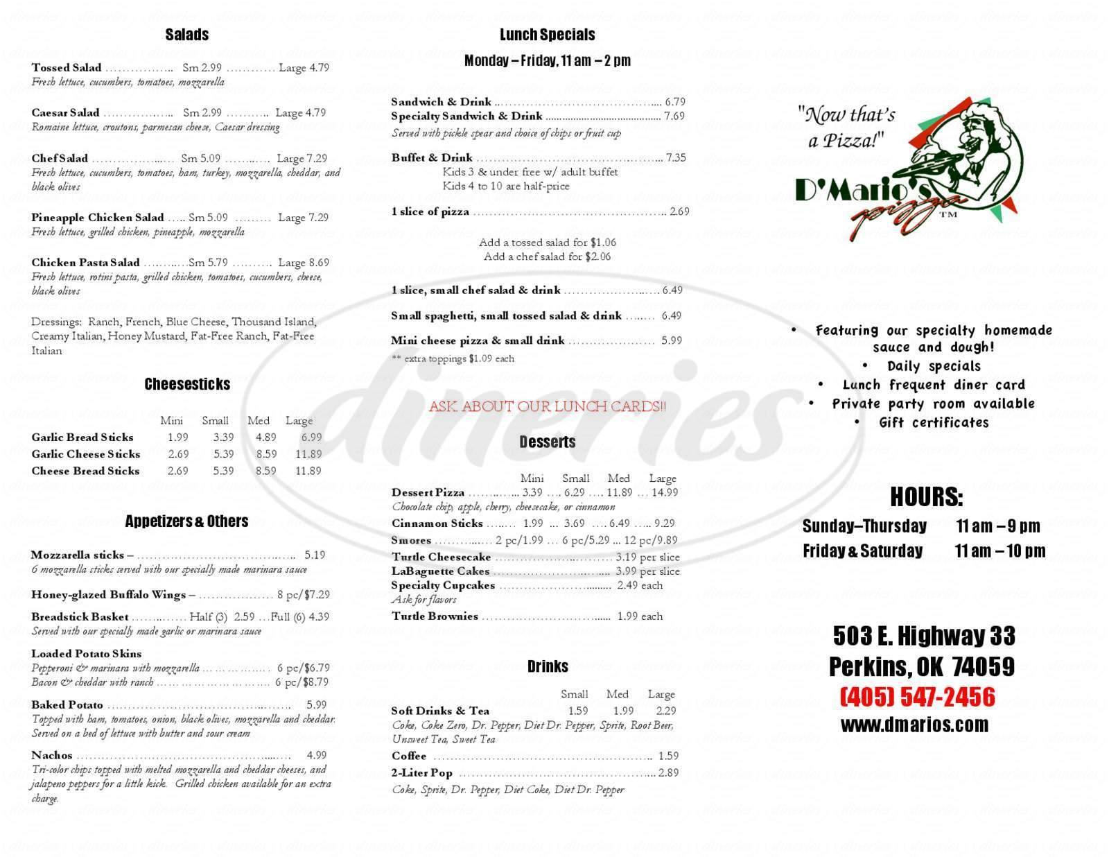 menu for D'mario's Pizza
