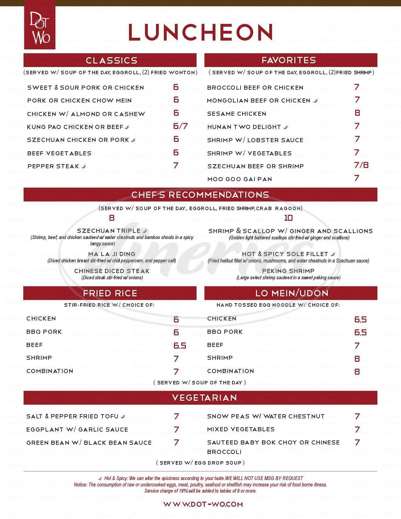 menu for Dot Wo Garden