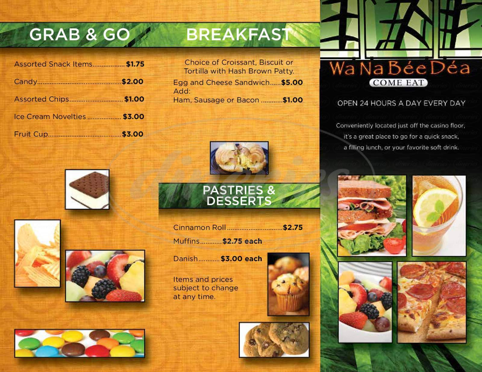 menu for Wa-Na-Be'e-De'a snack bar