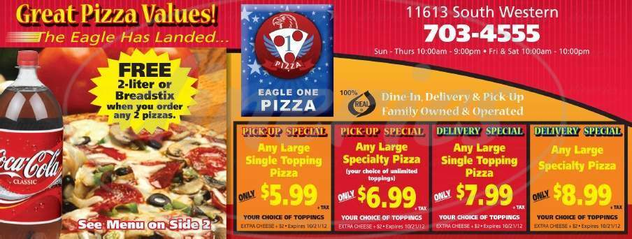menu for Eagle One Pizza