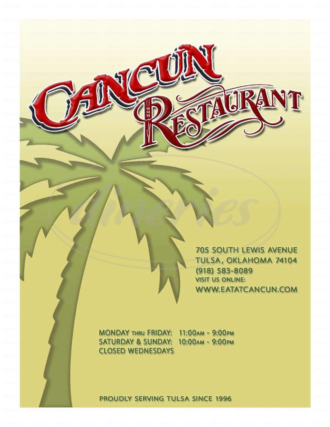 menu for Cancun International Restaurant