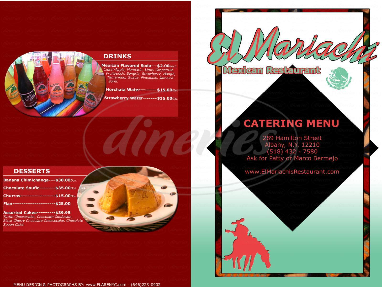 menu for El Mariachi Mexican Restaurant