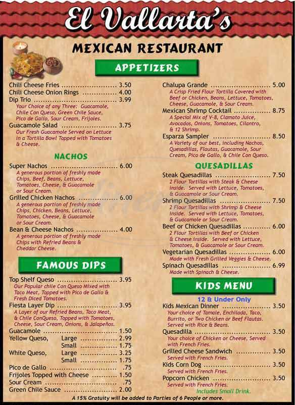 menu for El Vallartas Mexican Restaurant