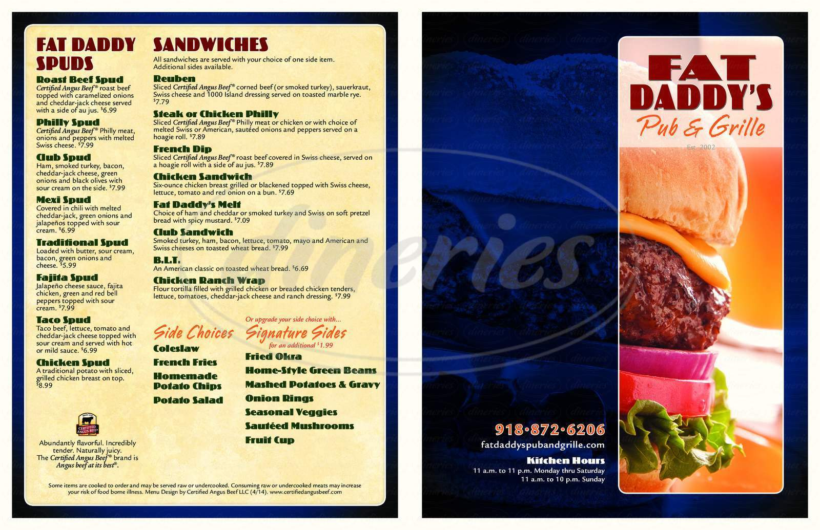 menu for Fat Daddy's Pub & Grille