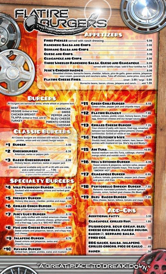 menu for Flatire Burger