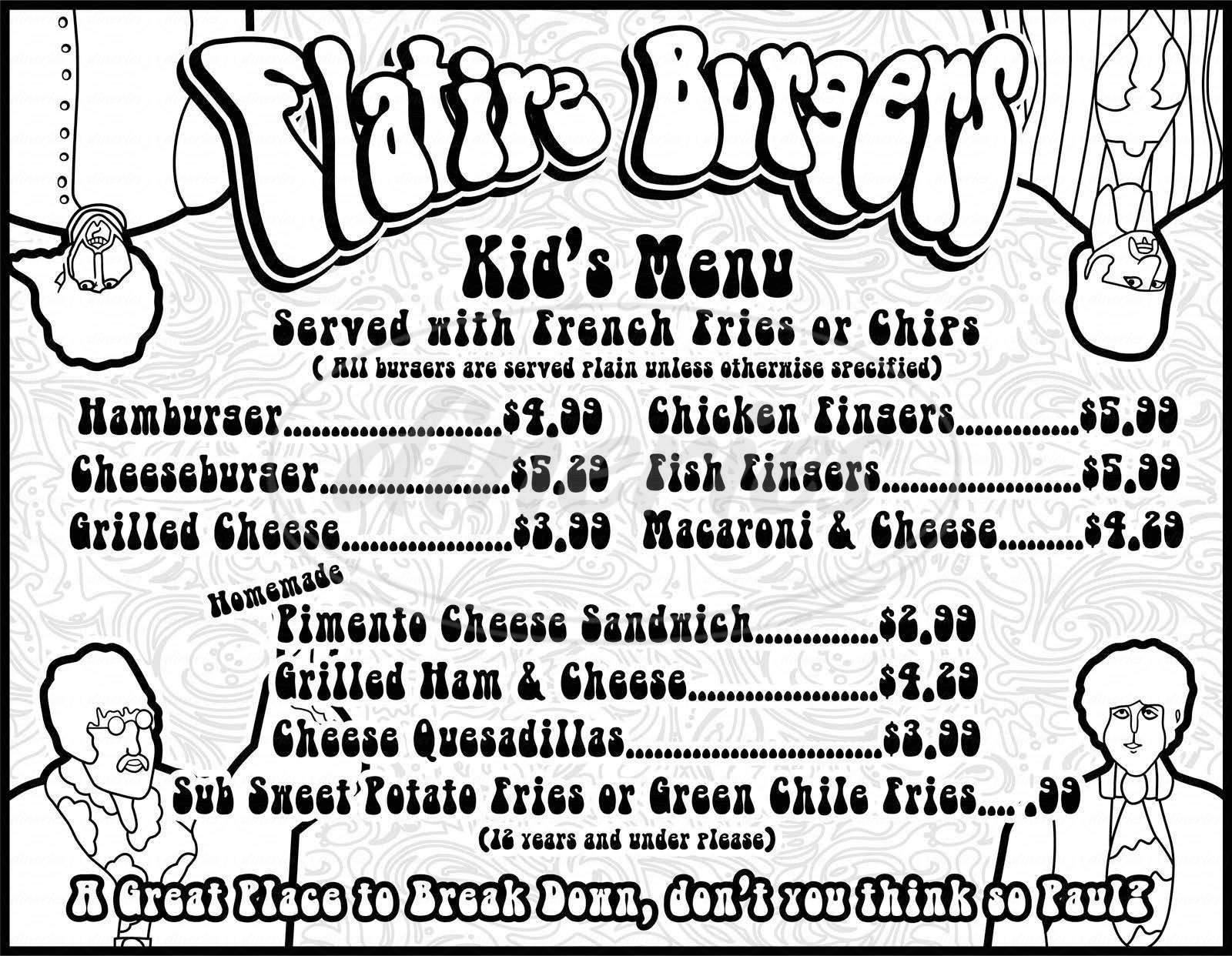 menu for Flatire Burger