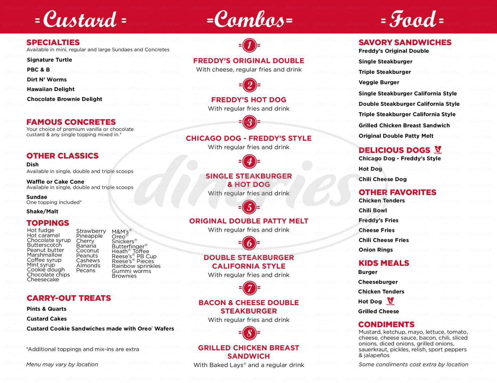 menu for Freddys Frozen Custard & Steakburgers