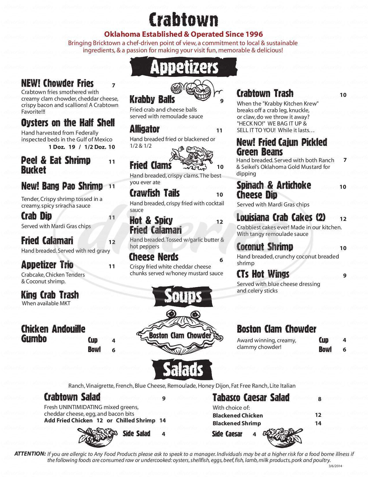 menu for Crabtown