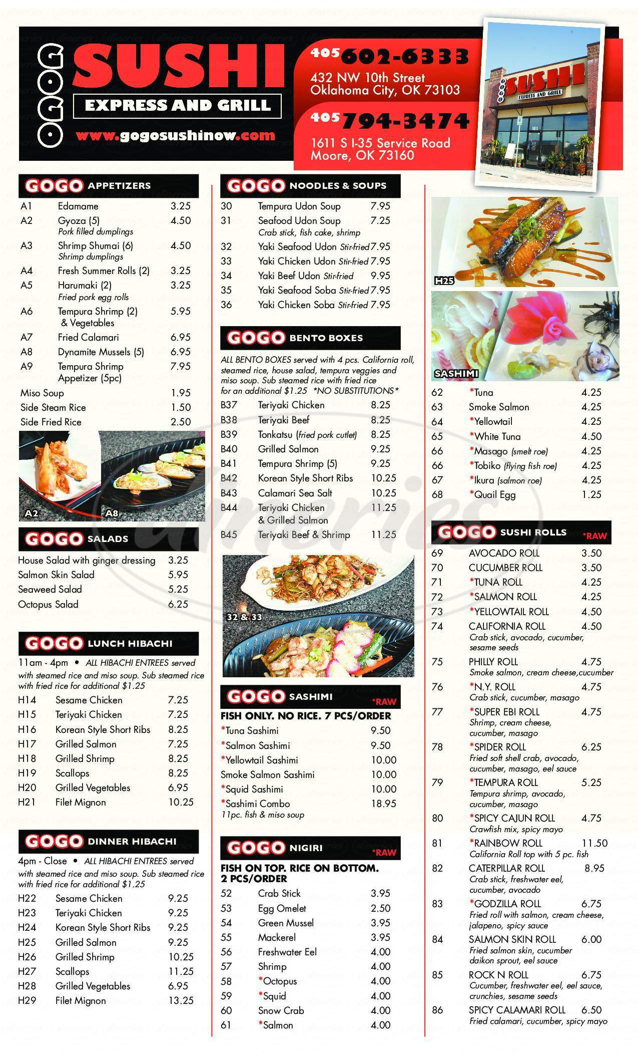 menu for GOGO Sushi Express & Grill
