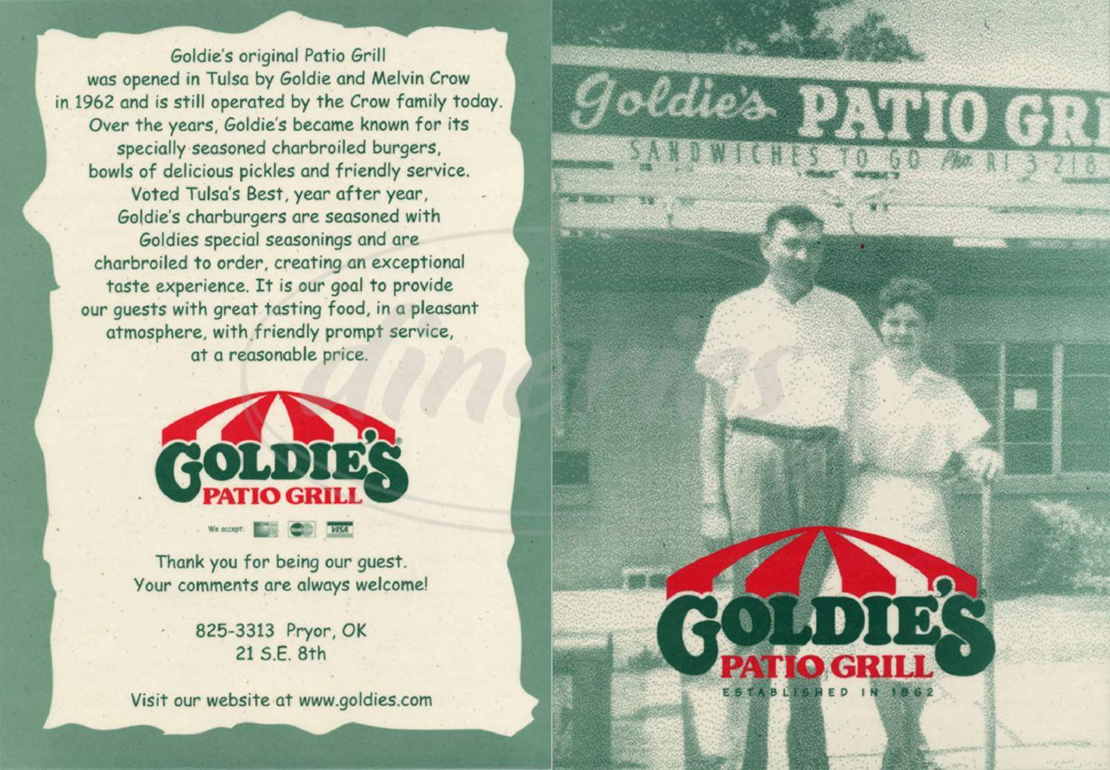 menu for Goldies Patio Grill