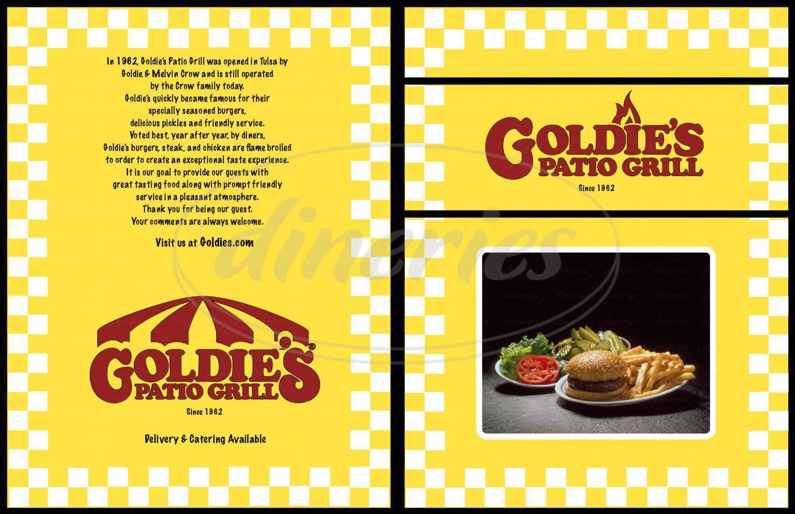 menu for Goldie's Patio Grill