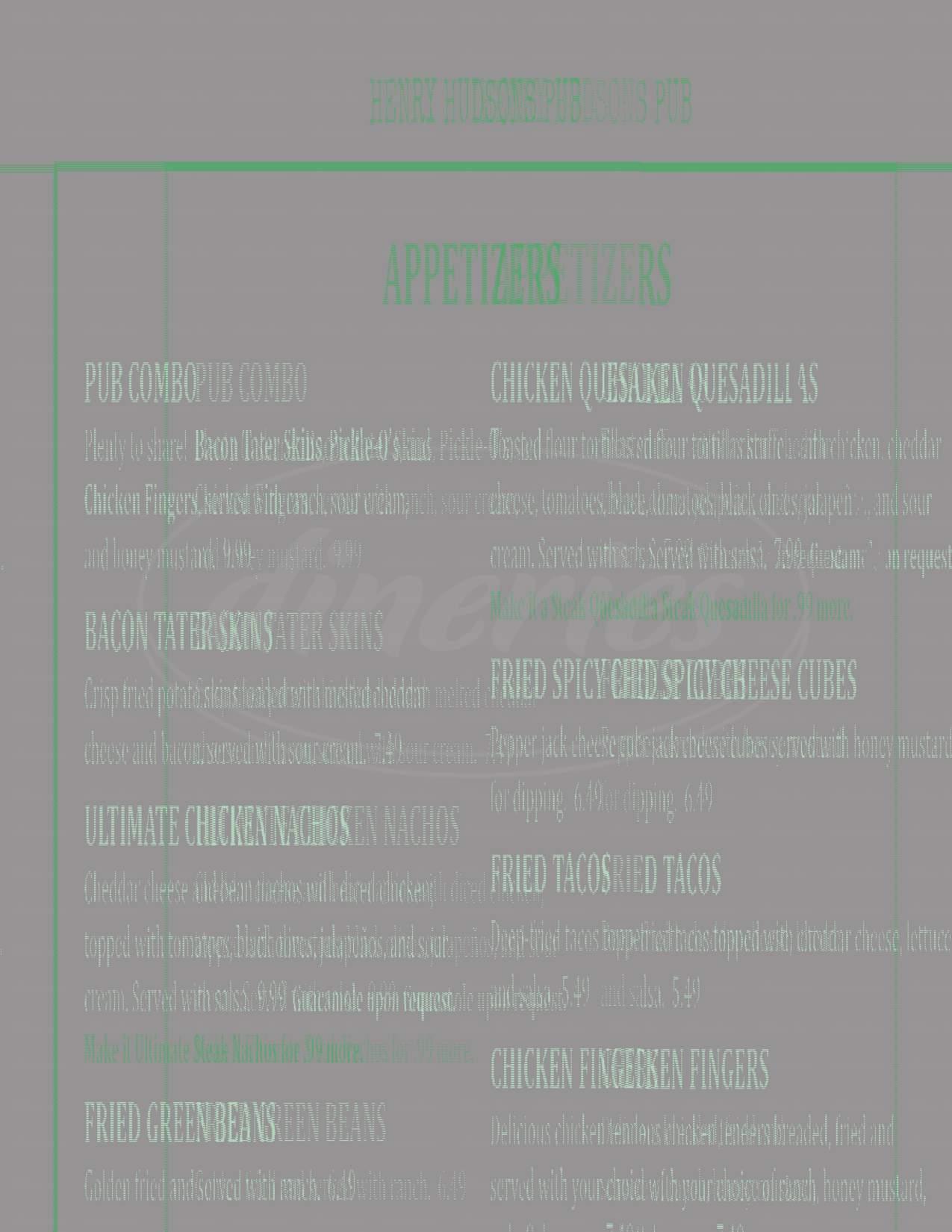 menu for Henry Hudson Grill II