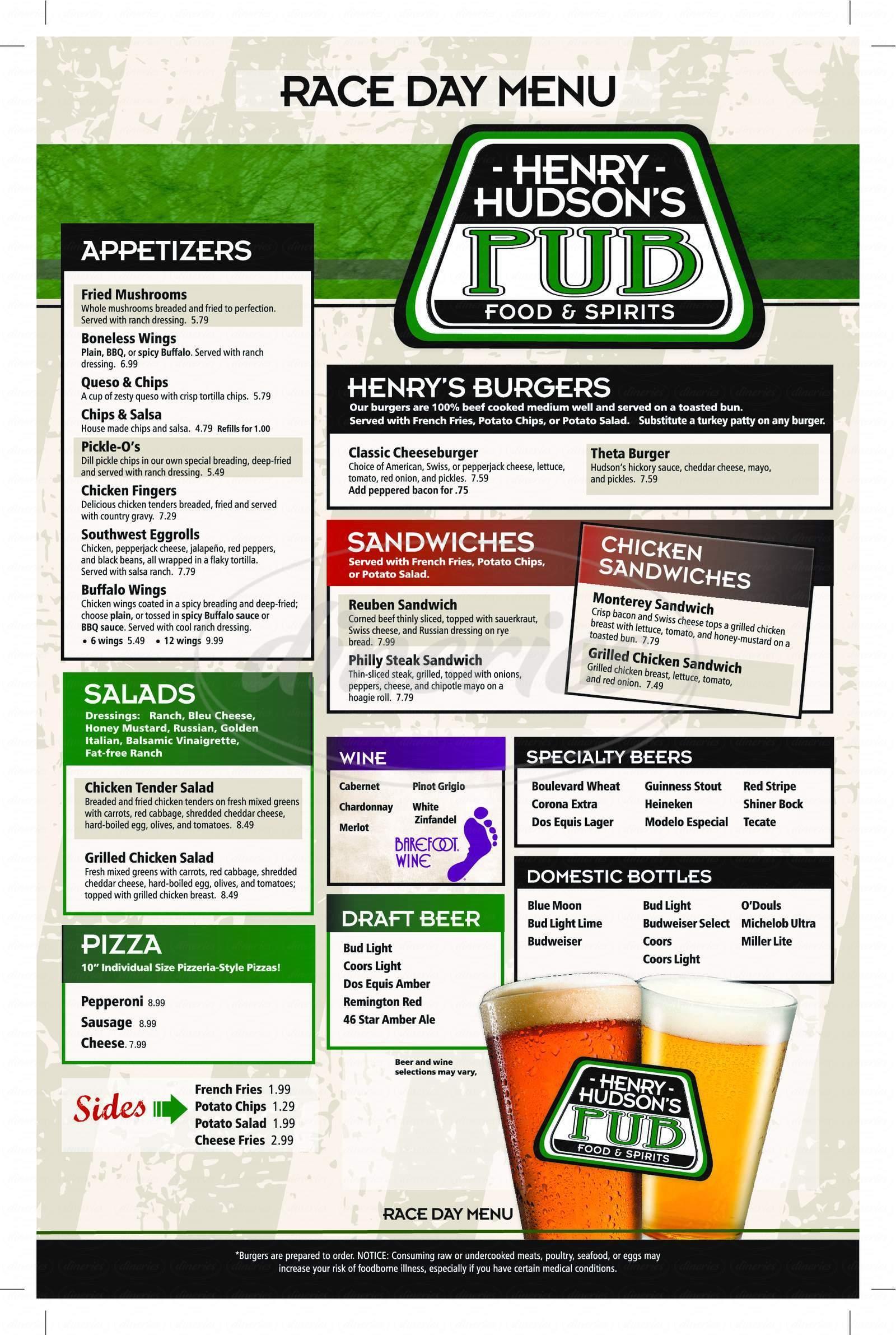 menu for Henry Hudson's