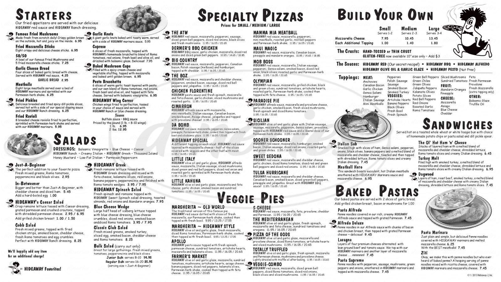 menu for Hideaway Pizza