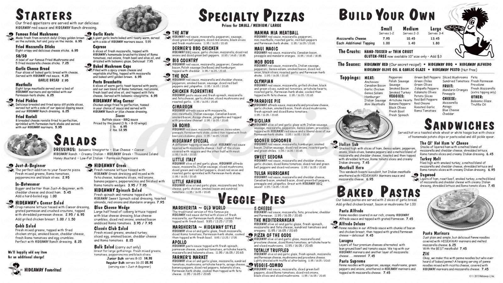 menu for Hideaway Pizza
