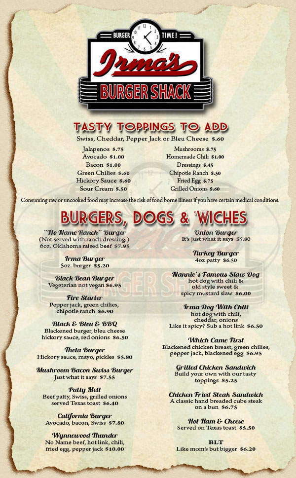 menu for Irma's Burger Shack