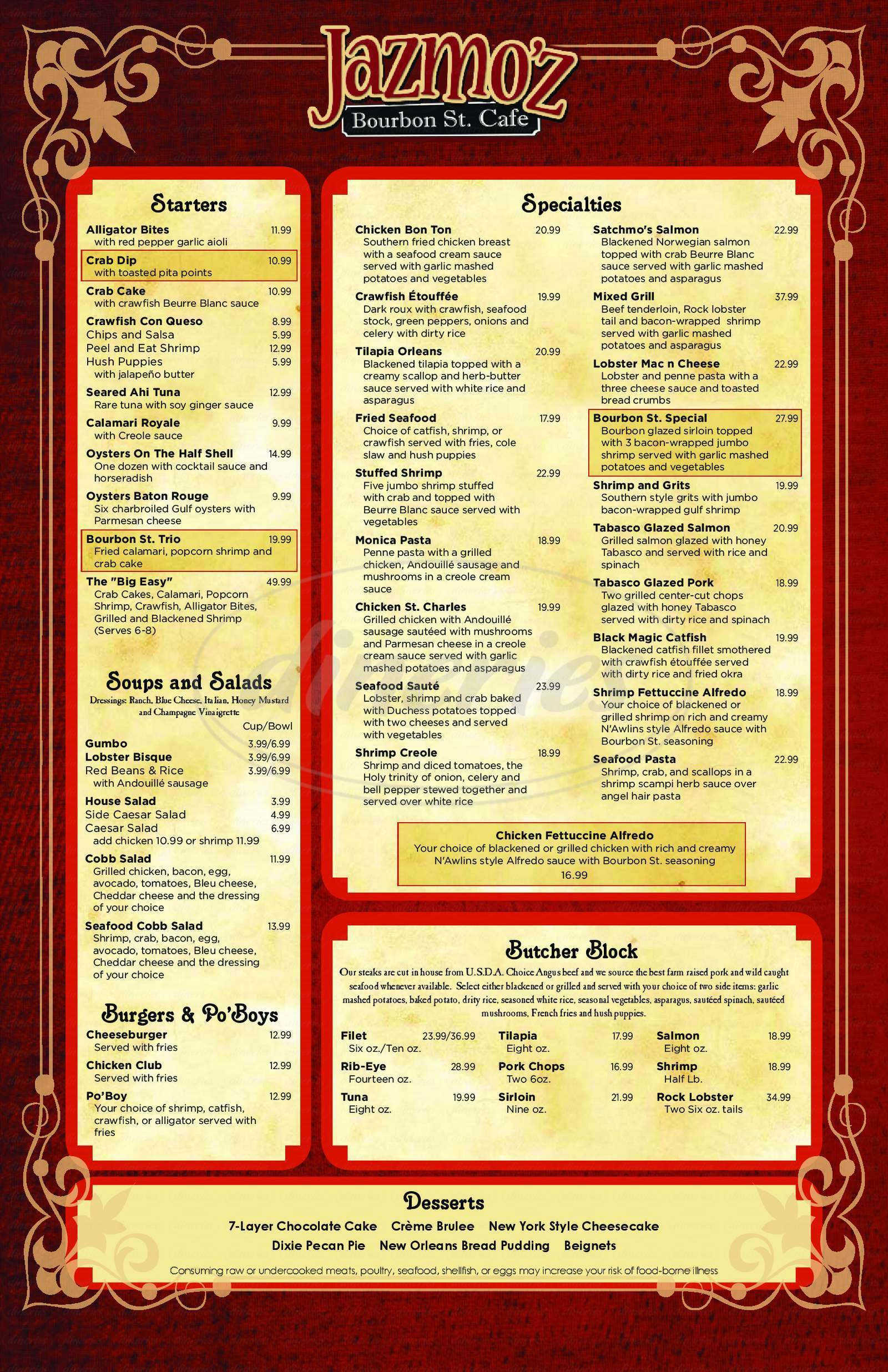 menu for Jazmo'z Bourbon St. Cafe
