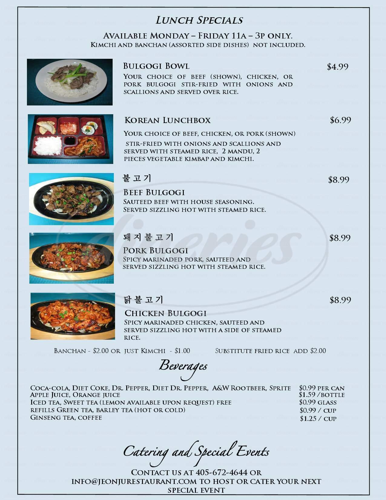 menu for Jeon Ju Korean Restaurant
