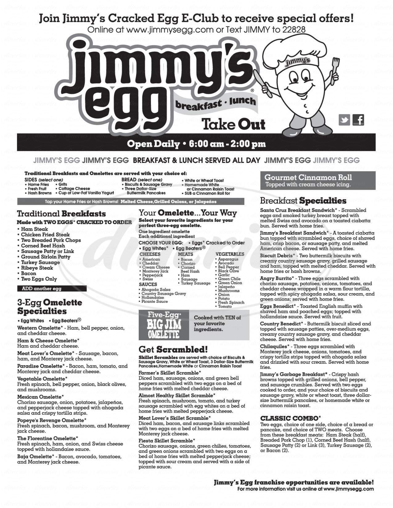 menu for Jimmy's Egg breakfast
