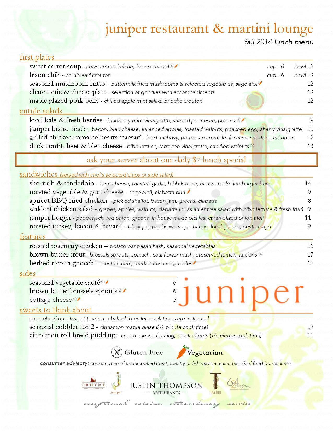 menu for Juniper Restaurant & Martini Lounge