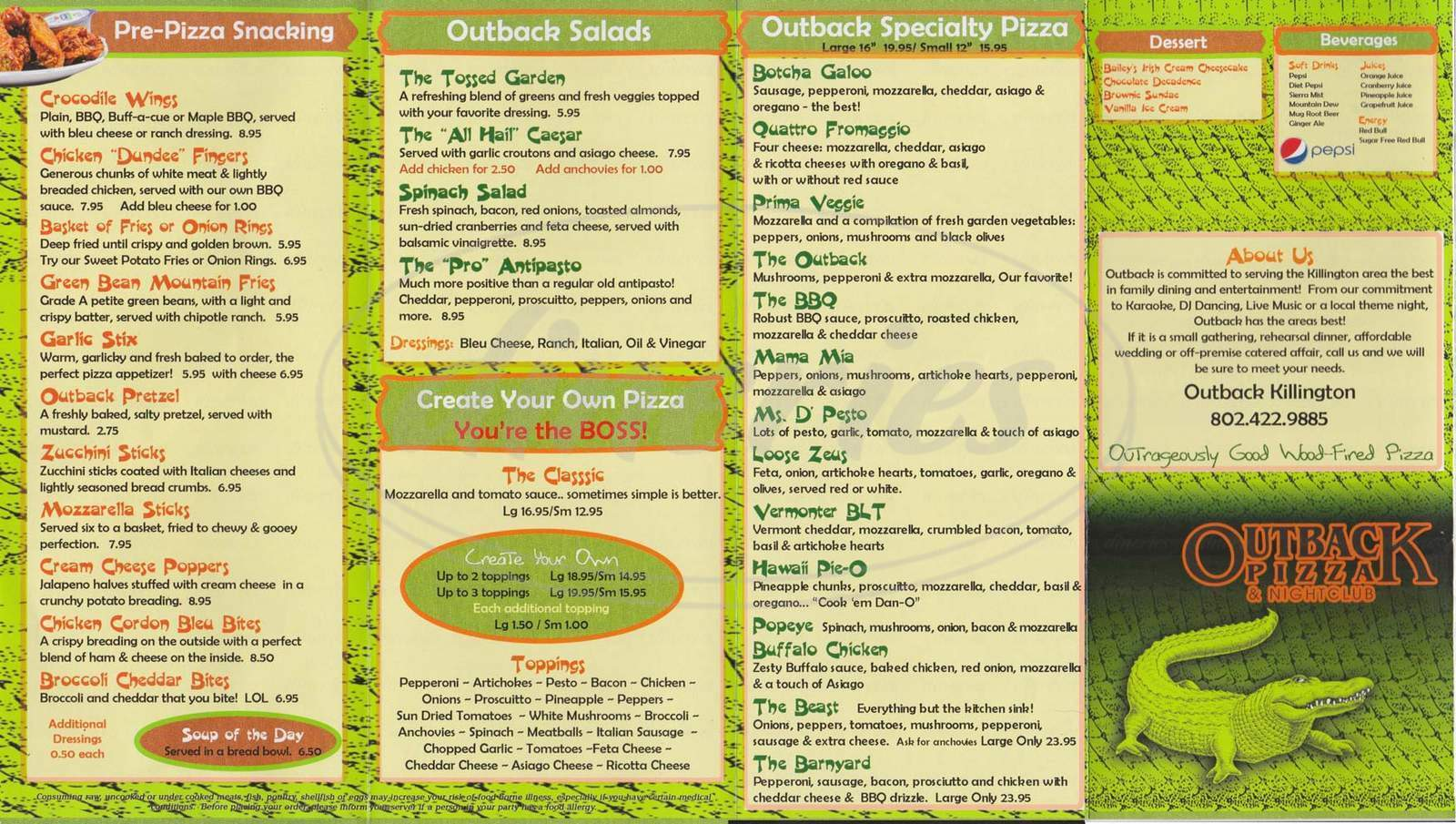 menu for Outback Pizza & Groceries