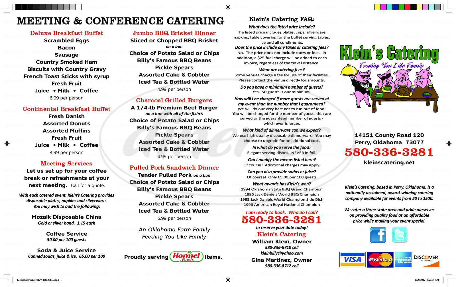 menu for Klein's Catering Services