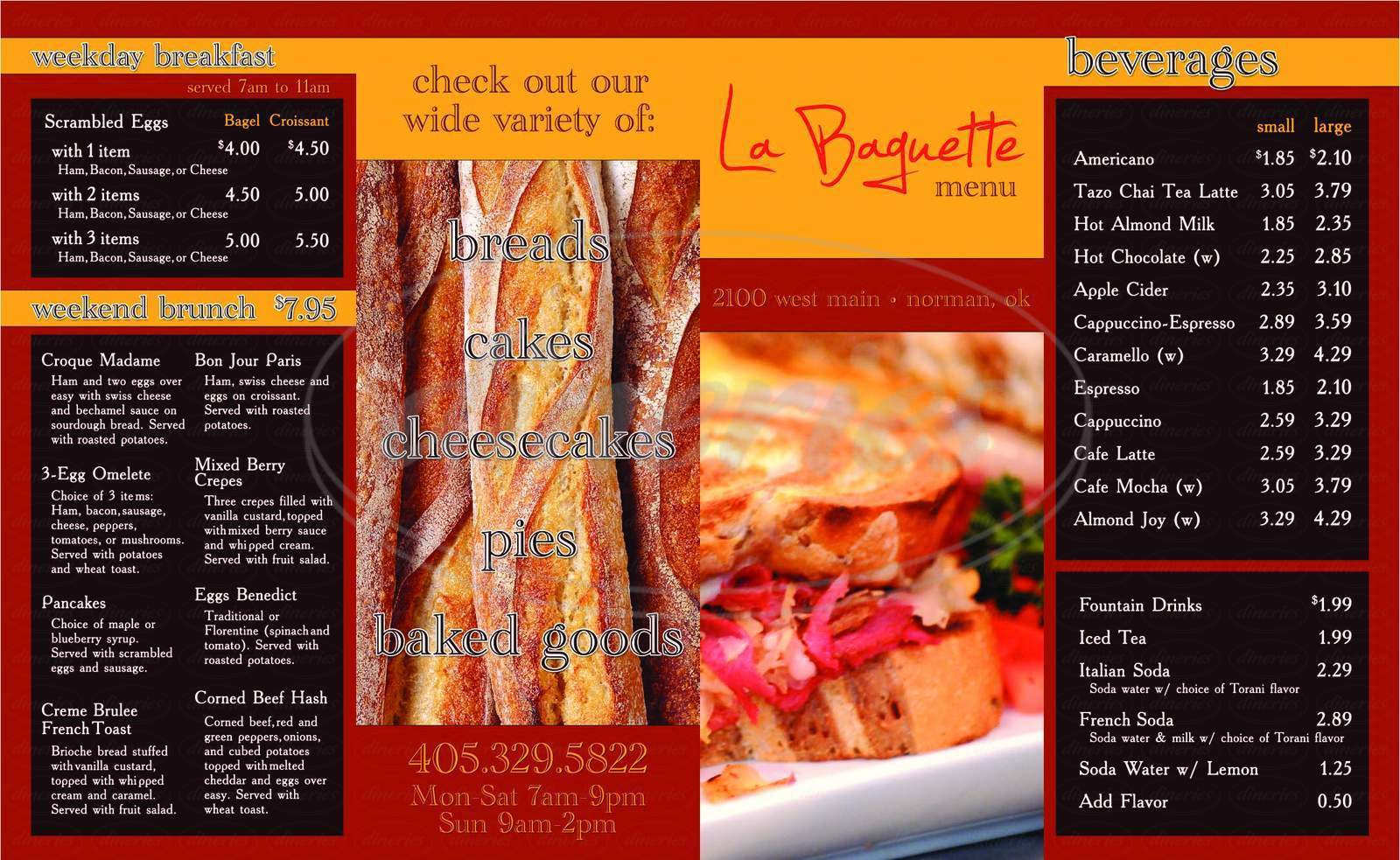 menu for La Baguette Bakery