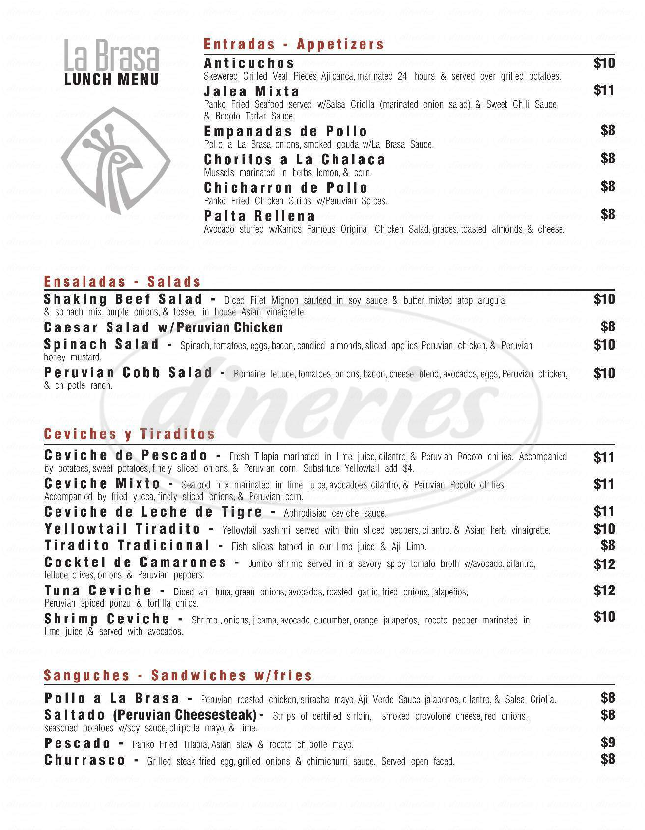 menu for La Brasa Peruvian Kitchen