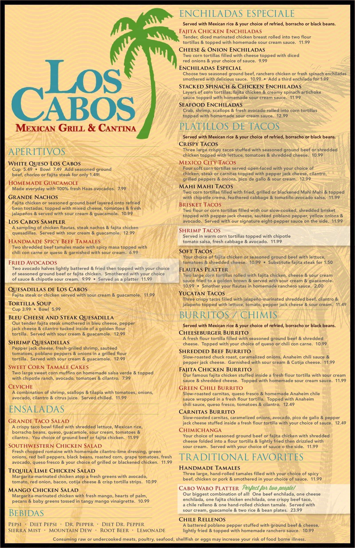 menu for Los Cabos