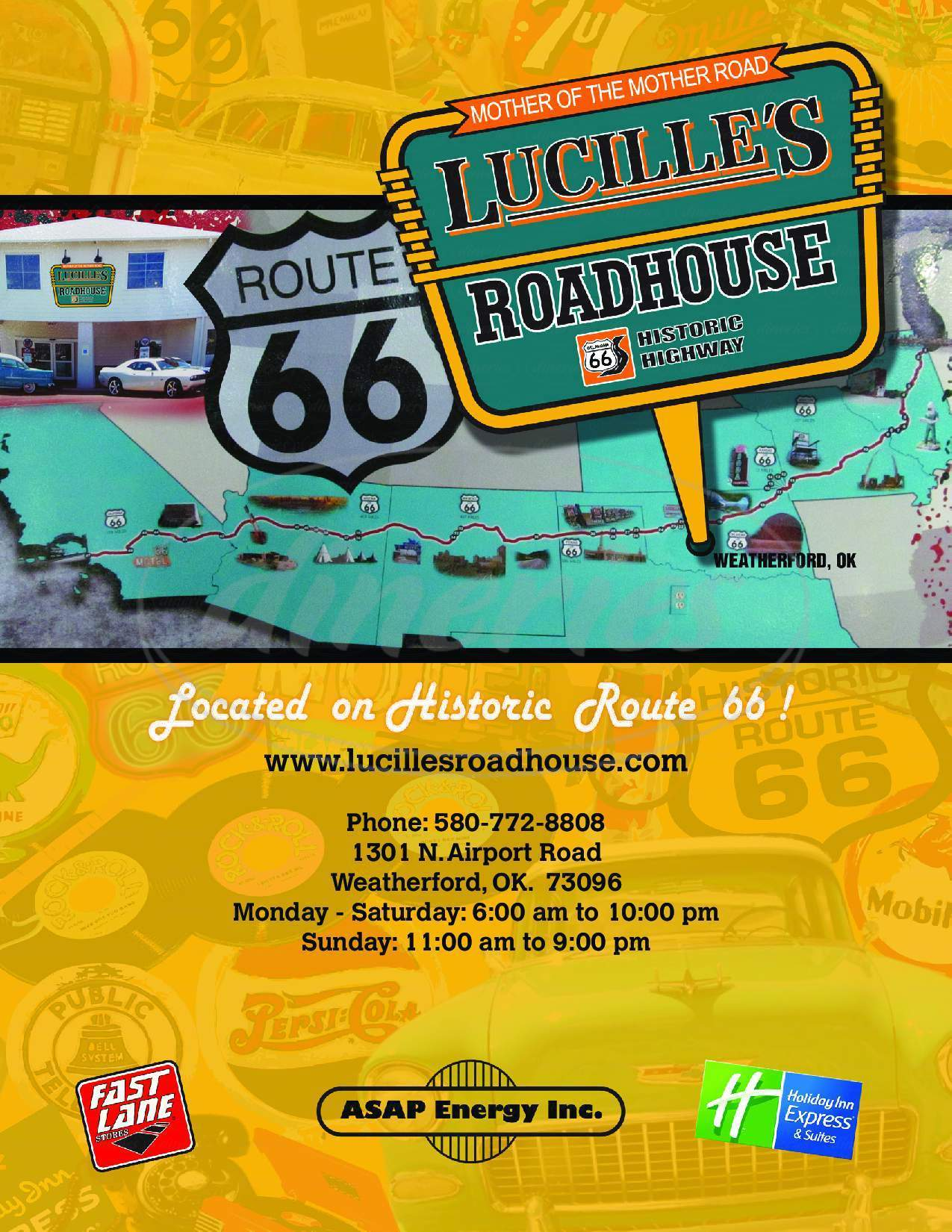 menu for Lucille's Roadhouse