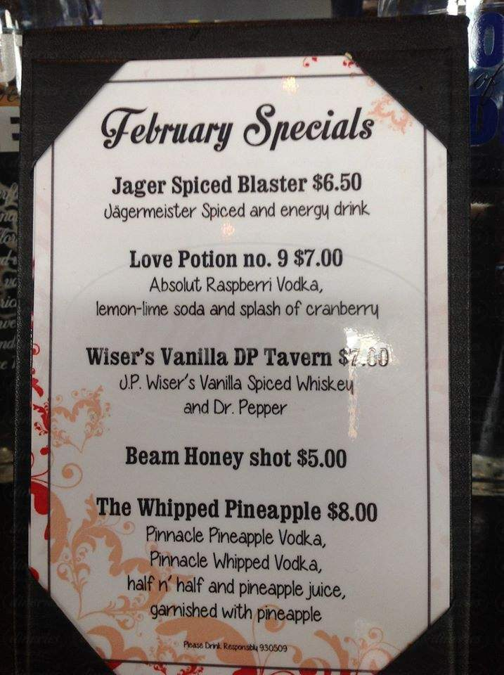menu for Main Street Tavern