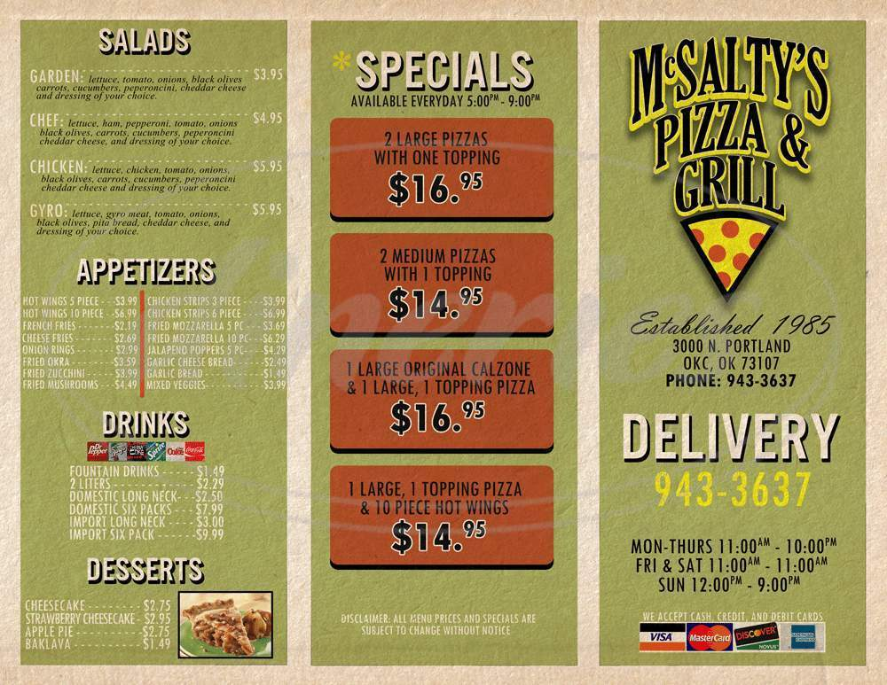 menu for McSalty's Pizza