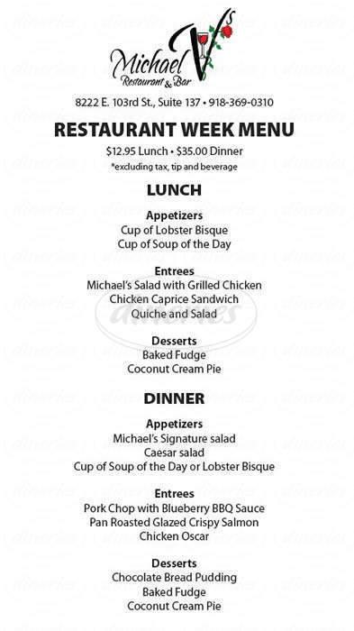 menu for Michael V's Restaurant