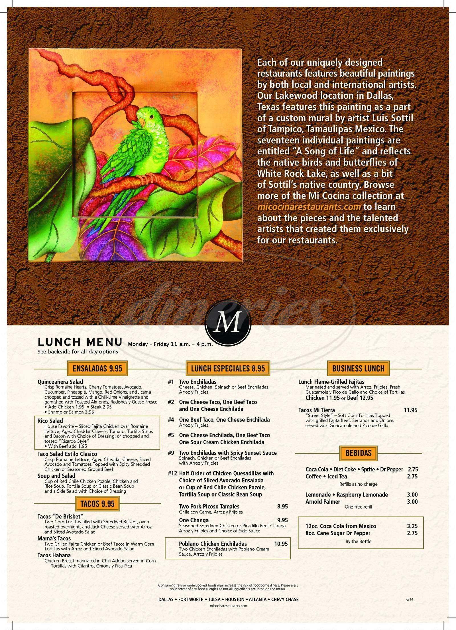menu for Mi Cocina