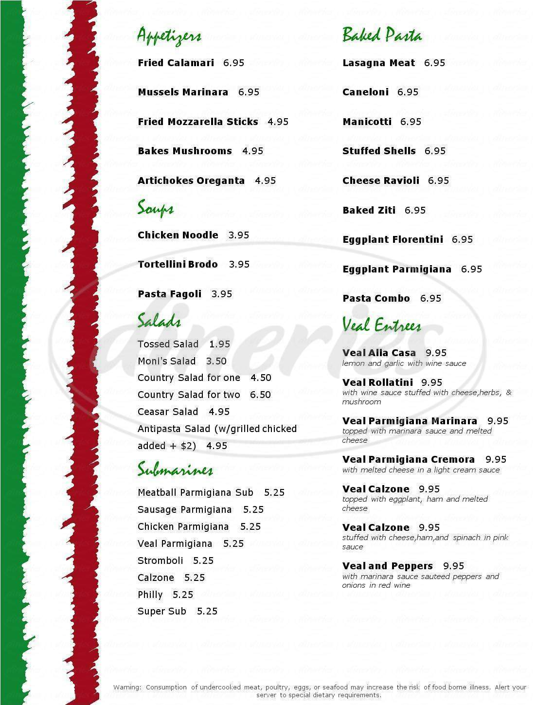menu for Moni's Pasta & Pizza