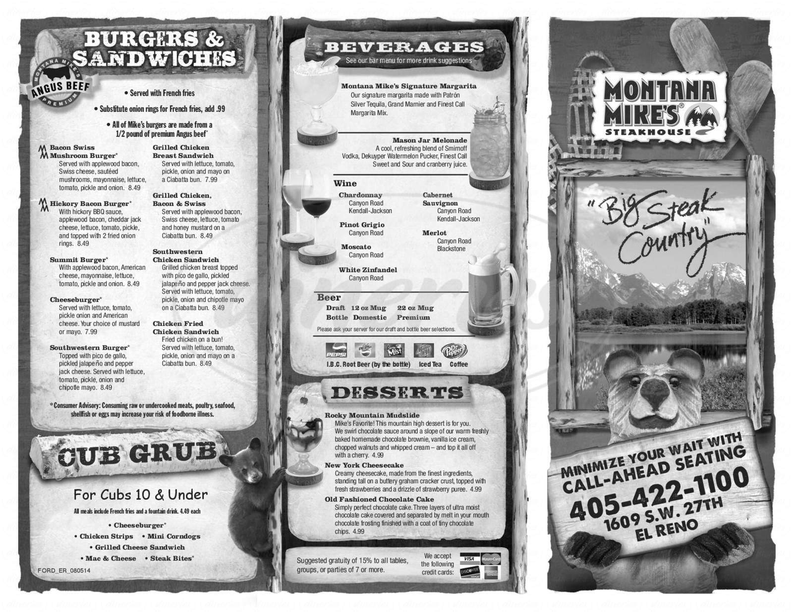menu for Montana Mike's Steakhouse